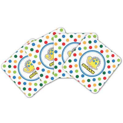Dots & Dinosaur Cork Coaster - Set of 4 w/ Name or Text