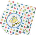 Dots & Dinosaur Rubber Backed Coaster (Personalized)