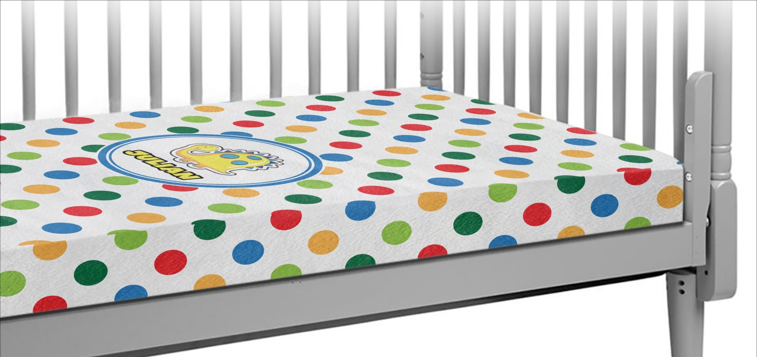 Dots Amp Dinosaur Crib Fitted Sheet Personalized