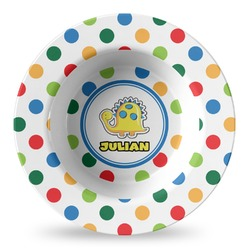 Dots & Dinosaur Plastic Bowl - Microwave Safe - Composite Polymer (Personalized)