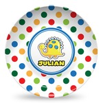 Dots & Dinosaur Microwave Safe Plastic Plate - Composite Polymer (Personalized)