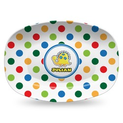 Dots & Dinosaur Plastic Platter - Microwave & Oven Safe Composite Polymer (Personalized)