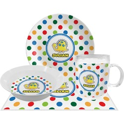 Dots & Dinosaur Dinner Set - 4 Pc (Personalized)
