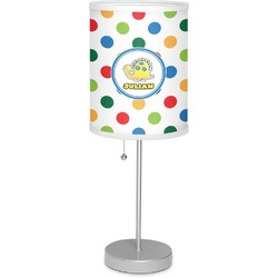 """Dots & Dinosaur 7"""" Drum Lamp with Shade Polyester (Personalized)"""