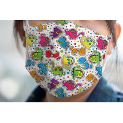 Dots & Dinosaur Face Mask Cover (Personalized)