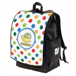 Dots & Dinosaur Backpack w/ Front Flap  (Personalized)