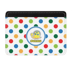 Dots & Dinosaur Genuine Leather Front Pocket Wallet (Personalized)