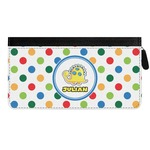 Dots & Dinosaur Genuine Leather Ladies Zippered Wallet (Personalized)