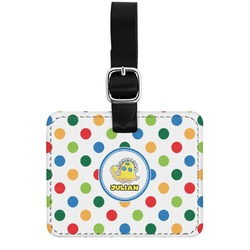 Dots & Dinosaur Genuine Leather Rectangular  Luggage Tag (Personalized)