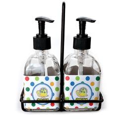 Dots & Dinosaur Soap & Lotion Dispenser Set (Glass) (Personalized)