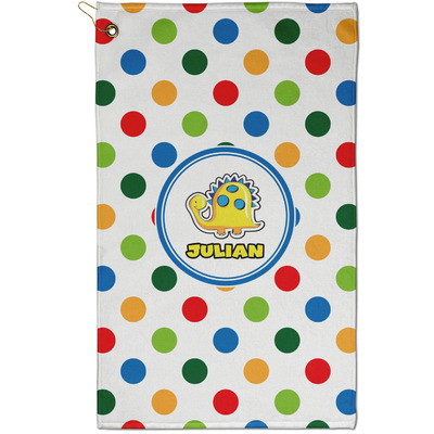 Dots & Dinosaur Golf Towel - Full Print - Small w/ Name or Text