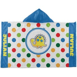 Dots & Dinosaur Kids Hooded Towel (Personalized)