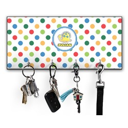 Dots & Dinosaur Key Hanger w/ 4 Hooks (Personalized)