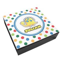 Dots & Dinosaur Leatherette Keepsake Box - 3 Sizes (Personalized)