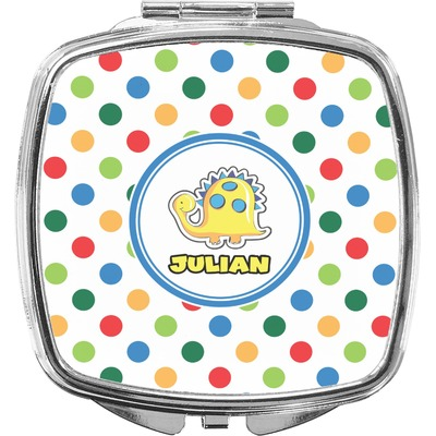 Dots & Dinosaur Compact Makeup Mirror (Personalized)