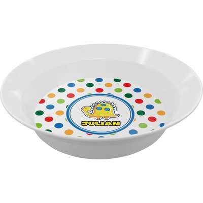 Dots & Dinosaur Melamine Bowl (Personalized)