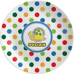 Dots & Dinosaur Melamine Plate (Personalized)