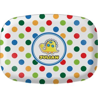 Dots & Dinosaur Melamine Platter (Personalized)