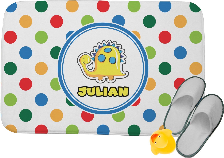 Dots Amp Dinosaur Memory Foam Bath Mat Personalized