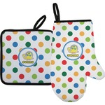 Dots & Dinosaur Oven Mitt & Pot Holder (Personalized)