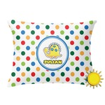 Dots & Dinosaur Outdoor Throw Pillow (Rectangular) (Personalized)