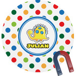 Dots & Dinosaur Round Magnet (Personalized)