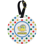 Dots & Dinosaur Round Luggage Tag (Personalized)
