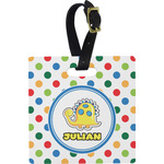 Dots & Dinosaur Square Luggage Tag (Personalized)