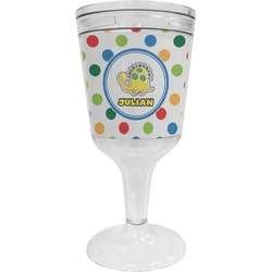Dots & Dinosaur Wine Tumbler - 11 oz Plastic (Personalized)