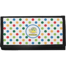Dots & Dinosaur Canvas Checkbook Cover (Personalized)