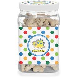 Dots & Dinosaur Pet Treat Jar (Personalized)