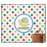 Dots & Dinosaur Outdoor Picnic Blanket (Personalized)
