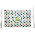 Dots & Dinosaur Glass Rectangular Lunch / Dinner Plate - Single or Set (Personalized)