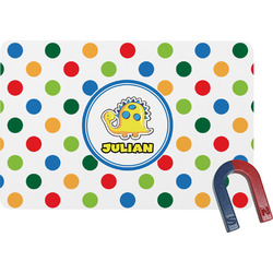 Dots & Dinosaur Rectangular Fridge Magnet (Personalized)