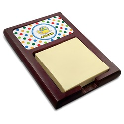 Dots & Dinosaur Red Mahogany Sticky Note Holder (Personalized)