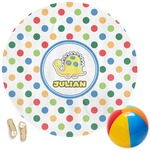 Dots & Dinosaur Round Beach Towel (Personalized)