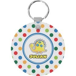 Dots & Dinosaur Round Keychain (Personalized)