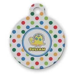 Dots & Dinosaur Round Pet Tag (Personalized)