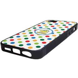 Dots & Dinosaur Rubber iPhone 5/5S Phone Case (Personalized)