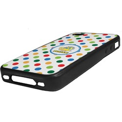 Dots & Dinosaur Rubber iPhone Case 4/4S (Personalized)