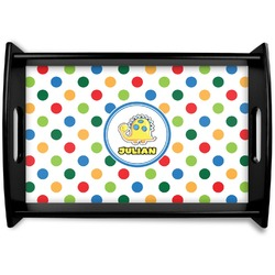 Dots & Dinosaur Black Wooden Tray (Personalized)