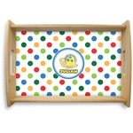Dots & Dinosaur Natural Wooden Tray (Personalized)