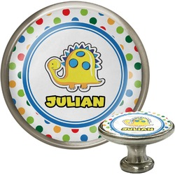 Dots & Dinosaur Cabinet Knob (Silver) (Personalized)