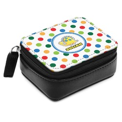 Dots & Dinosaur Small Leatherette Travel Pill Case (Personalized)
