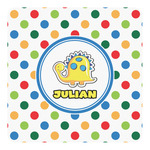 Dots & Dinosaur Square Decal - Custom Size (Personalized)