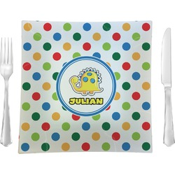 "Dots & Dinosaur 9.5"" Glass Square Lunch / Dinner Plate- Single or Set of 4 (Personalized)"