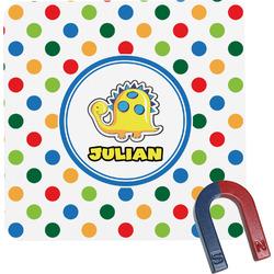 Dots & Dinosaur Square Fridge Magnet (Personalized)