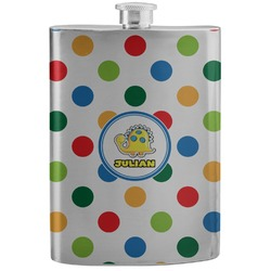 Dots & Dinosaur Stainless Steel Flask (Personalized)