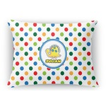 Dots & Dinosaur Rectangular Throw Pillow Case (Personalized)