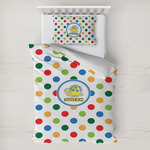 Dots & Dinosaur Toddler Bedding w/ Name or Text